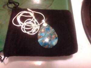 Blue and Gold Bornite Stone Teardrop Pendant + Sterling Chain