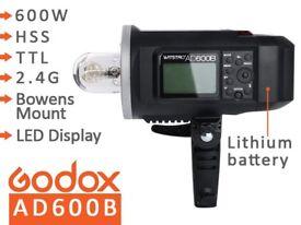 Godox AD600B 600W Portable Studio Flash Strobe - TTL, HSS 1/8000s, 2.4G, Battery, BOWENS Mount