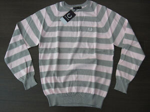 Fred Perry Pink Grey Striped Knit Sweater Shirt 101 cm 40 OBO
