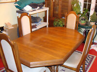 solid oak table and buffet