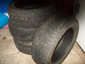 SET OF 235 BY 55 BY18 WINTER TIRES-STUDDED