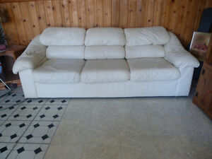 GENUINE LEATHER SOFA & MATCHING LOVESEAT SET [$750 FOR BOTH]