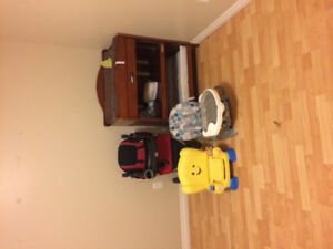 Wood change table, car seat and stroller