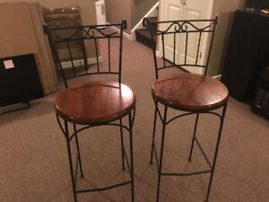 Stool, Rod Iron / Hardwood top / Set