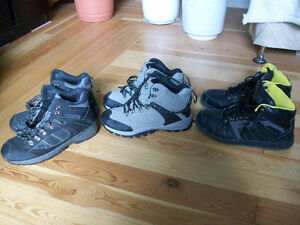 3 PAIRS OF HIGH TOP RUNNERS - SIZE 8-9