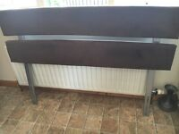 Brown suede headboard for double bed spare room guest