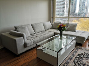 Sectional couch from mobilia with oddomon for sale