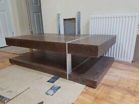 Solid wood dark oak coffee table: 2 levels so double the area. Reduced from £175