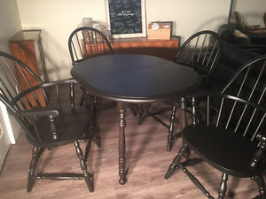 Solid Wood Redinished Table and Chairs with Leaf