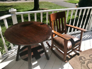 Antique mission rocking chair and table