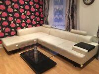 Cream corner sofa leather effect