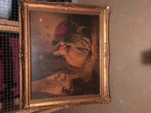 Old painting print and very ornate gold frame 289 698-5110