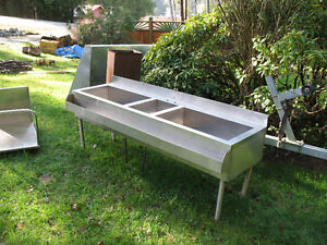 stainless steel 3 sink table