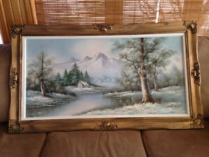 Beautiful Painting of Cabin in valley. Winter scene London Ontario image 1