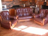 FREE for pickup - Leather Suite (2 Armchairs and 2 Seater Sofa)