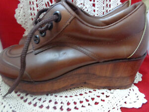 Brown Leather Rubber Sole Cabaret Tie Up Oxford Womans Shoes