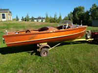 16 Ft Lakefield Cedar Strip Boat and Trailor