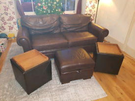 Leather cushioned stools with storage and trays only