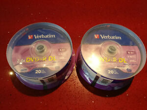 40 DVD+R DL (RW) Verbatim 8.5GB (Double Layer) 2.4x Jusqu'à 6x