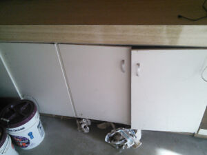 Big counter and large cabinets
