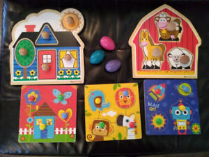 Toddler puzzles and crayons