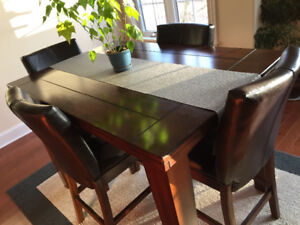 Kitchen Table Expresso Wood Pub Style With 8 Chairs