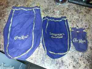LOT OF 3 L/M/S CROWN ROYAL BAGS $5.00 FOR ALL