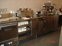 12 Ft SS Prep Counter with sink, 2 door cooler, cup trays, etc.