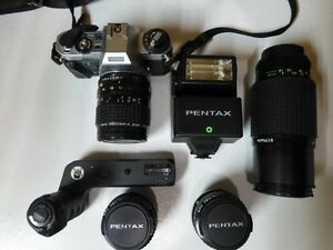 Pentax Super Program with 4 PentaxA lenses, power winder & flash