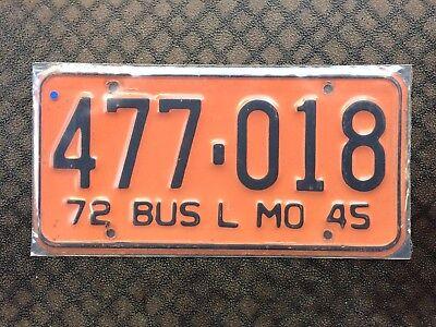 1972 MISSOURI BUS LICENSE PLATE 477 018
