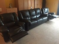 3-1-1 Black Leather Recliner Suite