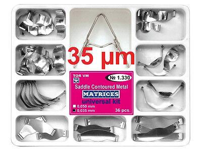 Dental Saddle Contoured Metal Matrices Matrix 36 Pcs With Springclip Tor Vm