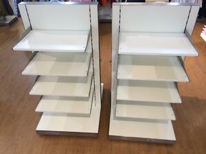 Store Fixtures-REDUCED 2  Tables (large) & 8 Display Shelves