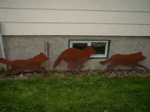 3 Rustic Metal Wolf pack, lawn ornaments - true wolf lover
