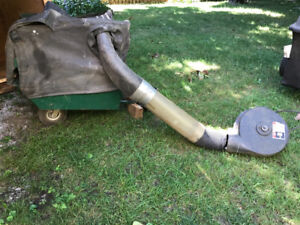 Garden tractor power flow blower and collection trailer