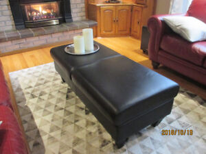 Leather coffee table bench