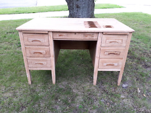 Antique oak bankers desk
