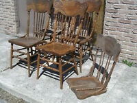 Four Antique 19th c. Pressed Back Chairs