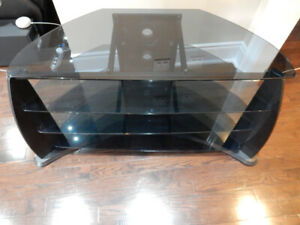Beautiful Glass TV Stand with Media Space - Black