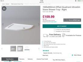 Ultraslim white offset quad shower tray NEW 1mx0.8m
