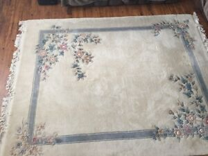 WOOL CARPET HANDMADE CHINESE AUTHENTIC 7ft 9in X 9ft 11in