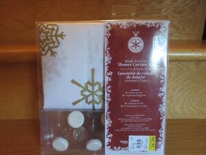 white with gold trim xmas shower curtain