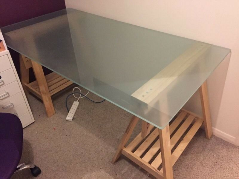 Ikea desk modern clear glass table top vika glasholm in