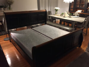 King Size Sleigh Bed + Kingsdown boxspring, high end