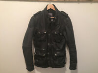 FIRETRAP Black Leather Jacket - Military / Cafe Racer - SMALL