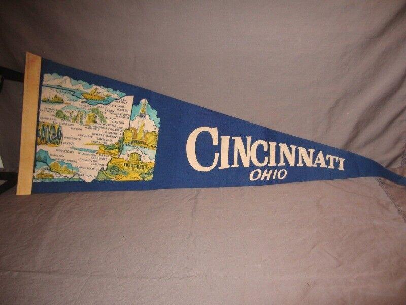 """Vintage Cincinnati, Ohio Blue Pennant  26"""" Long f/s"""