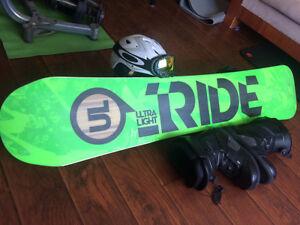 Ride Highlife UL163 snowboard, Helmet, Goggles, Boots & Bindings