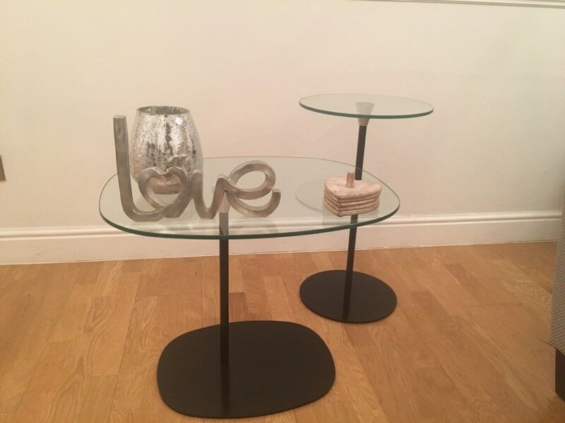 Habitat - Set of 3 glass tables - 2 side tables and 1 coffee table / tv stand