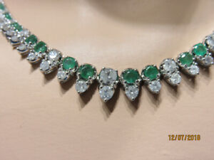14KT White Gold, Emerald & Diamond Tennis Necklace - $9999.99