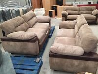 Brown chorded / leather 3+3 seater sofa suite